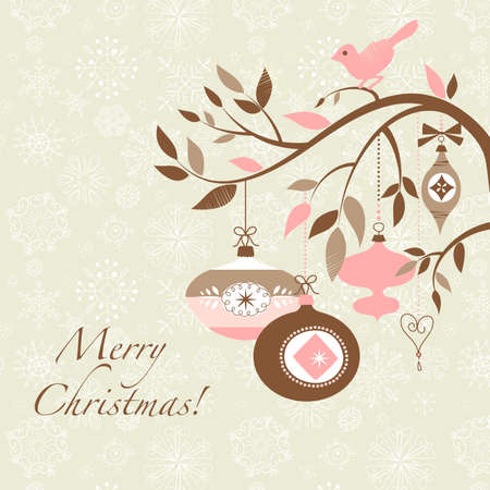 Christmas bird on a decorated branch Stock Vector - 16681241
