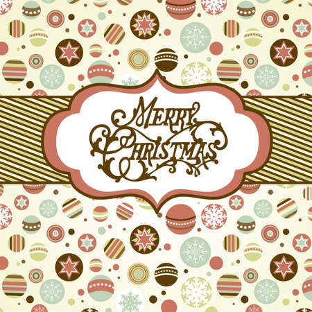 stationery border: Retro Christmas background  Illustration