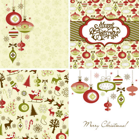 christmas backgrounds: Set of Christmas Retro backgrounds