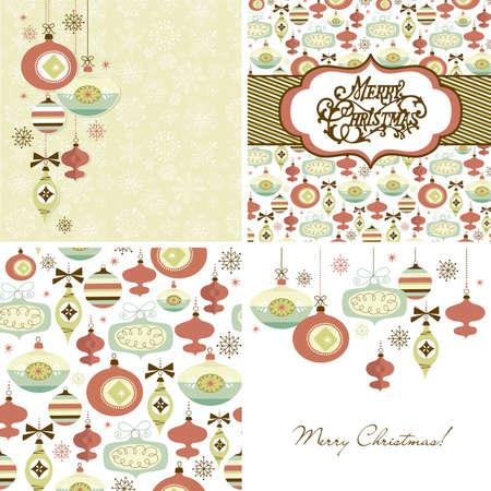 Set of Christmas Retro backgrounds Ilustração