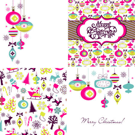 Set of Christmas Retro backgrounds  Vector