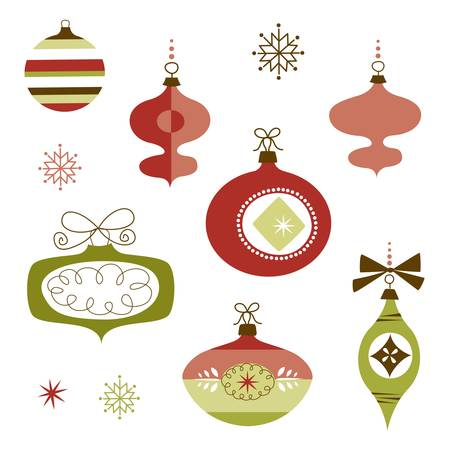 christmas ball isolated: Set of Retro Christmas Ornaments