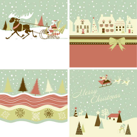 Set of Retro Christmas Cards Vector