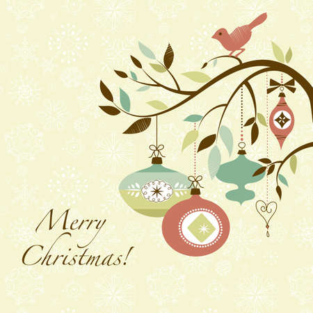 Christmas bird on a decorated branch Stock Vector - 16681240