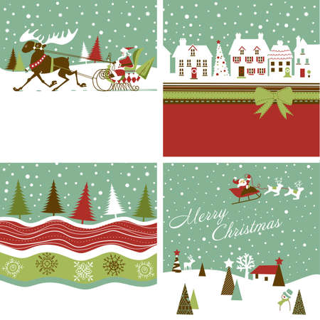 Set of Retro Christmas Cards Stock Vector - 16681059