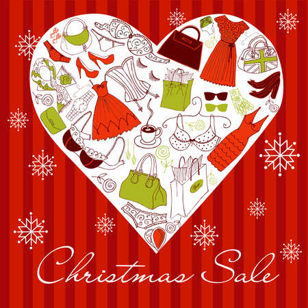 high fashion: Christmas SALE! A heart shape made of of different female fashion accessories.  Illustration