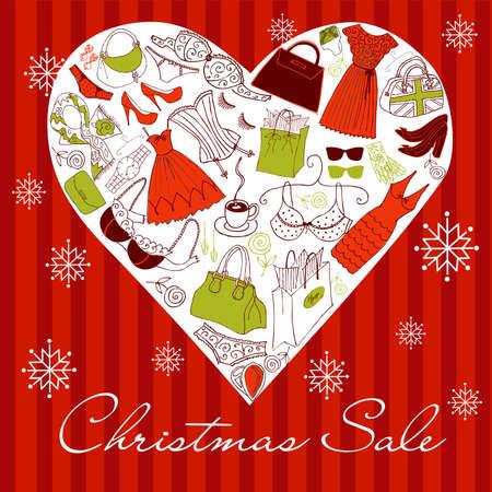 fashion bril: Kerst SALE! Een hart vorm gemaakt van verschillende vrouwelijke mode-accessoires. Stock Illustratie