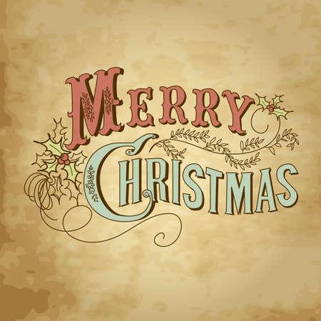 muerdago: Vintage Christmas Card. Merry Christmas letras