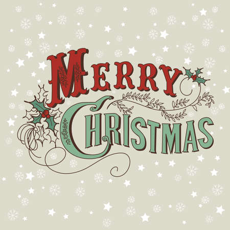 phrases: Retro Christmas Card. Merry Christmas lettering