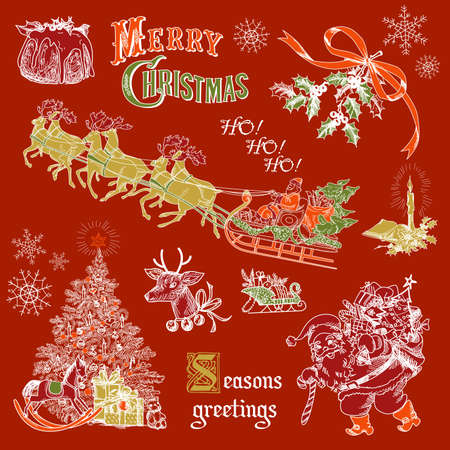 Vintage Christmas doodles Stock Vector - 16681269