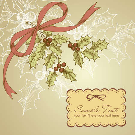 Vintage Christmas card with holly berry  Vector