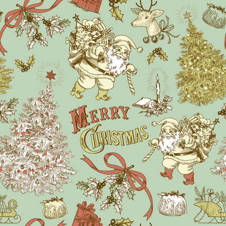xmas background: Vintage Christmas seamless pattern