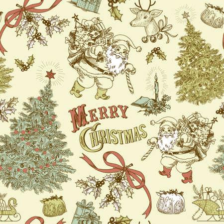 빈티지 크리스마스 원활한 패턴 일러스트