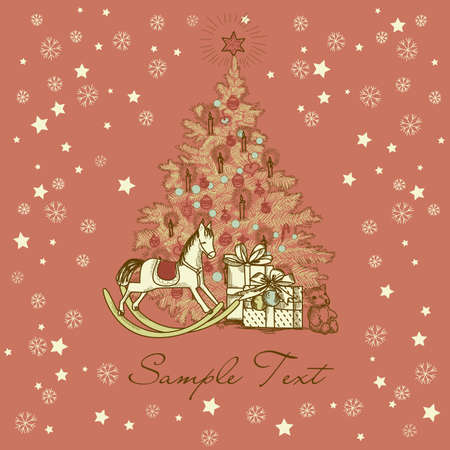 Vintage Christmas Card . Beautiful Christmas tree illustration  Vector