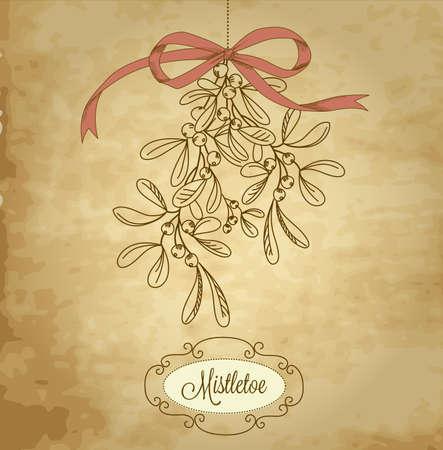 ビンテージ クリスマスのヤドリギ  イラスト・ベクター素材