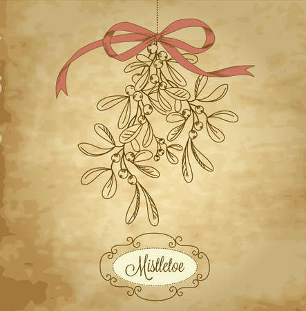 Vintage Christmas Mistletoe Stock Vector - 16681235