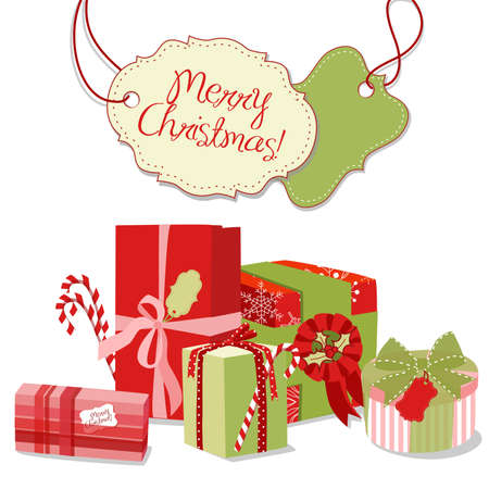 christmas gifts: Christmas gifts in retro style. Creative packaging  Illustration