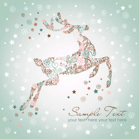 christmas greeting: Christmas deer, Vintage vector illustration