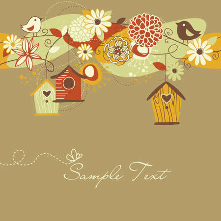 Beautiful Autumn background with bird houses, birds and flowers  Vector