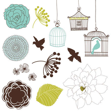 Set of birds, flowers and birdcages Vectores