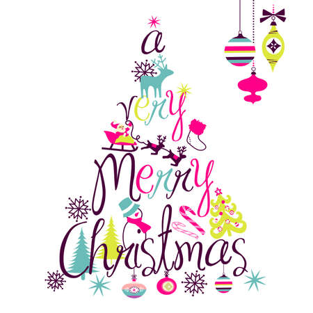 merry christmas text: A Very Merry Christmas tree dise�o Vectores