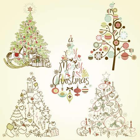 크리스마스 트리 컬렉션. 포도 수확, retro, 귀여운, 서예 - 손으로 그린 나무의 모든 유형