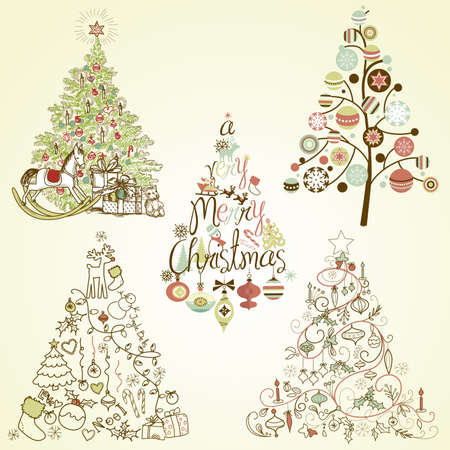 elves: Christmas tree collection. Vintage, retro, cute, calligraphic - all type of hand drawn trees