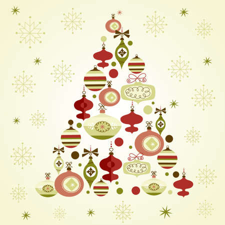 pink christmas: Beautiful Christmas tree illustration. Christmas Card