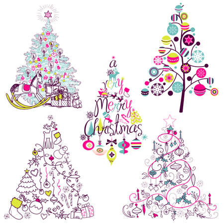 tree: Christmas tree collection. Vintage, retro, cute, calligraphic - all type of hand drawn trees