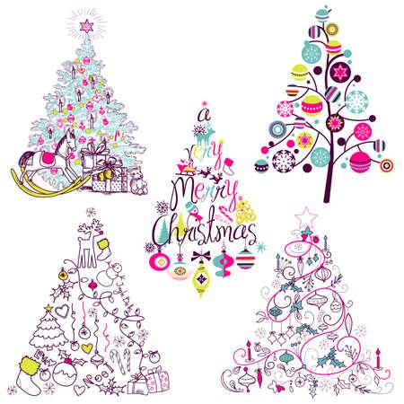 Navidad colección de árboles. Vintage, retro, lindo, caligrafía - todo tipo de árboles dibujados a mano Foto de archivo - 16681250
