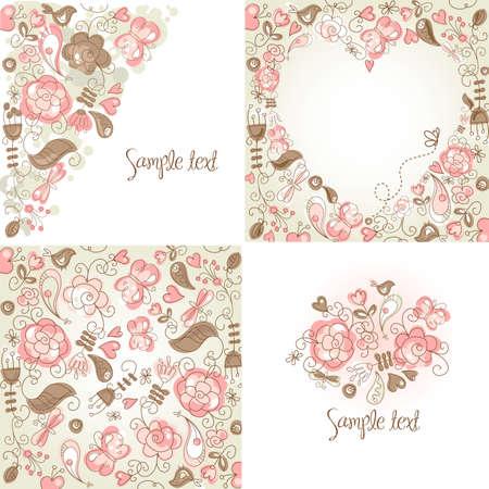Set of folk floral backgrounds