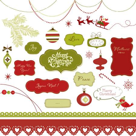 A set of Christmas scrapbook elements, vintage frames, ribbons, ornaments Stock Vector - 16681083