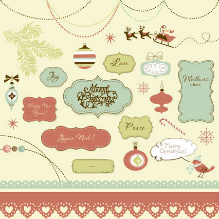 A set of Christmas scrapbook elements, vintage frames, ribbons, ornaments Vector