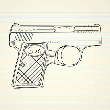 Vector illustration of a gun on paper background  Illustration