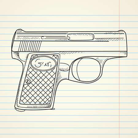war crimes: Vector illustration of a gun on paper background  Illustration