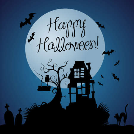 horror house: Halloween background vector oscuro Vectores