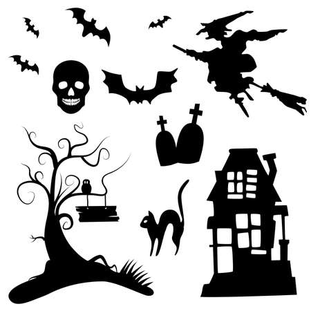 spooky tree: Set of halloween silhouettes on the white background
