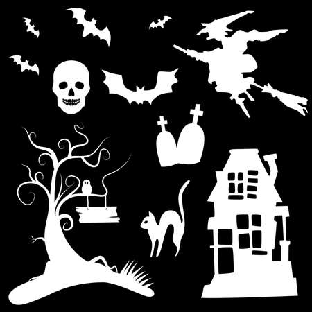 Set of halloween silhouettes on the white background  Vector