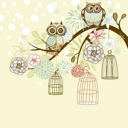 buhos y lechuzas: Owl invierno floral fondo. B�hos fuera de su vector de concepto jaulas