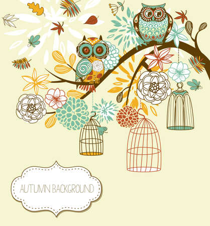 Owl autumn floral background. Owls out of their cages concept vector Vector