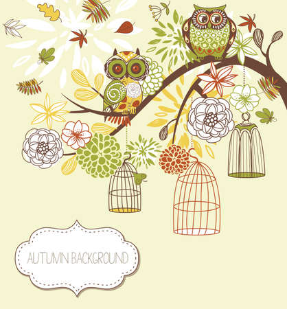 Owl autumn floral background. Owls out of their cages concept vector  Ilustração