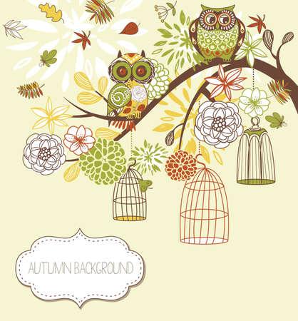 Uil herfst bloemen achtergrond. Uilen uit hun kooien begrip vector