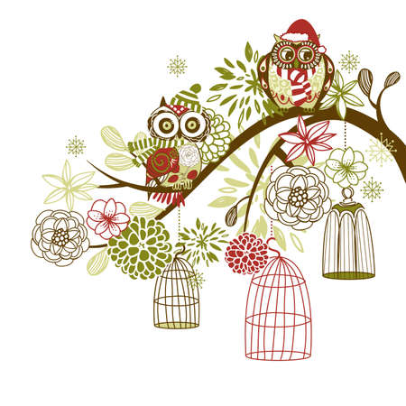 Owl winter floral background. Owls out of their cages concept vector Stock Vector - 16681056