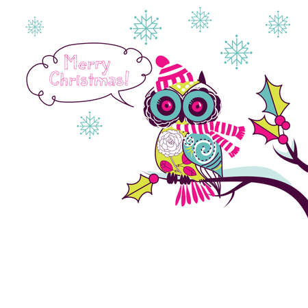 cute owl: Cute Christmas Owl Illustration