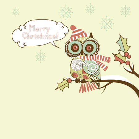 Cute Christmas Owl Illustration