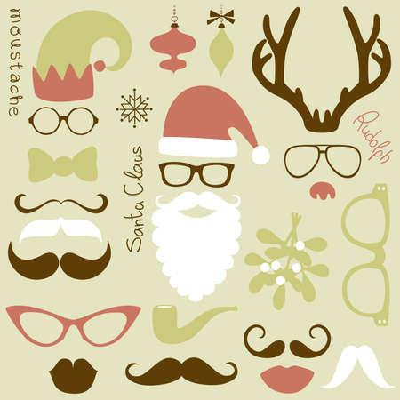 weihnachtsmann lustig: Retro Party Set - Santa Claus Bart, H�te, Hirschgeweih, Bogen, Gl�ser, Lippen, Schnurrb�rte Illustration