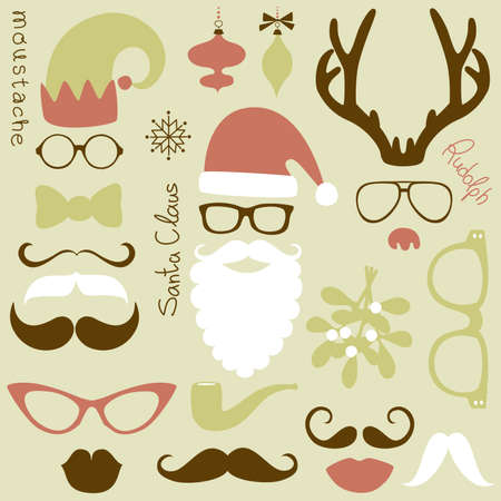 Retro Party set - Santa Claus beard, hats, deer antlers, bow, glasses, lips, mustaches  Vector