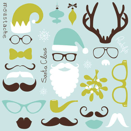 white moustache: Retro Party set - Santa Claus beard, hats, deer antlers, bow, glasses, lips, mustaches Illustration
