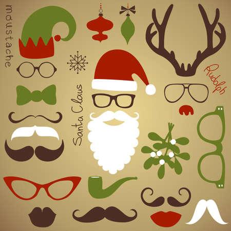 bigodes: Set Festa Retro - Santa Claus barba, chap�us, chifres de veado, arco, �culos, l�bios, bigodes Ilustração