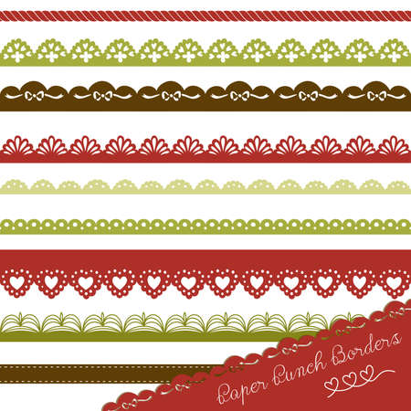 Set of hand-drawn Lace Paper Punch Borders Stock Vector - 16681046